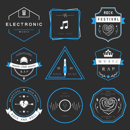 Vector badges musique rock, rap, classique et musique électronique.