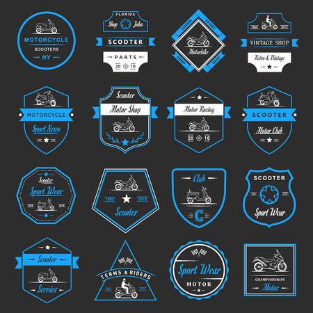 silueta ciclista: El conjunto del vector Vespa de la vendimia y de la motocicleta