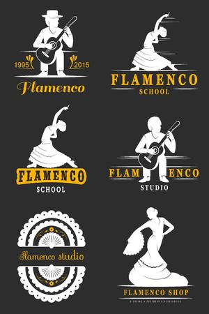 bailando flamenco: Conjunto de vector logos, insignias y siluetas de flamenco. Vectores