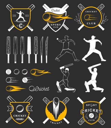 batsman: Set of cricket team emblem design elements