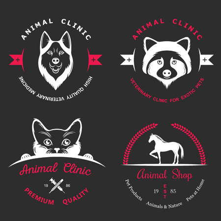 Set of vintage logo and logotype elements for pet shop