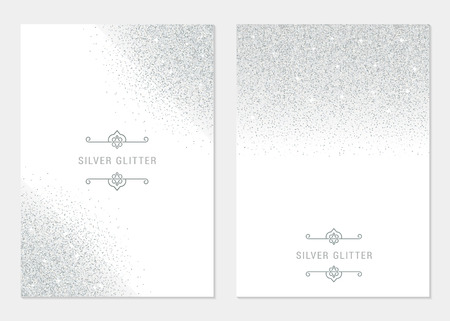 Vector set silver banner on white background. Silver and platinum card for voucher, flyers, web, vip, certificate, gift, shopping, and others premium goods.