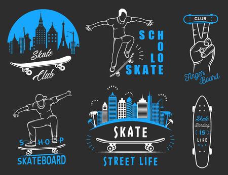 skateboard park: Set of skateboarding logo, badge, emblems, stickers, labels and elements of street style.
