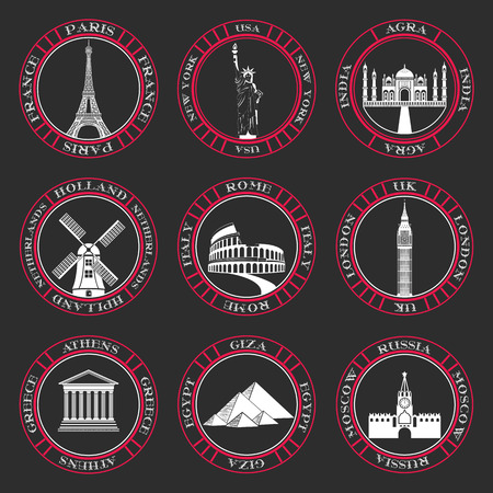 old new york: Stickers and icons of travel. Illustration