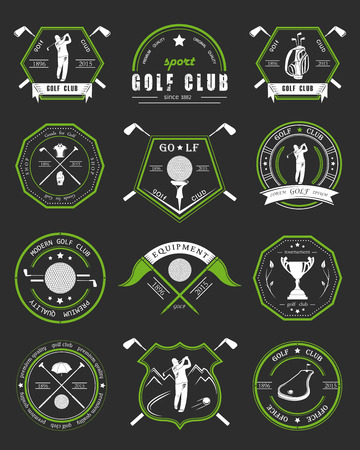 golfer: Vector set of golf club logos, labels and emblems.