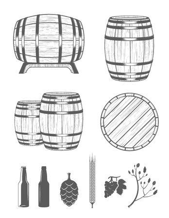 Vector set of barrels and design elements alcohol in vintage style. Collection barrels on a white background - stock vector. 矢量图像