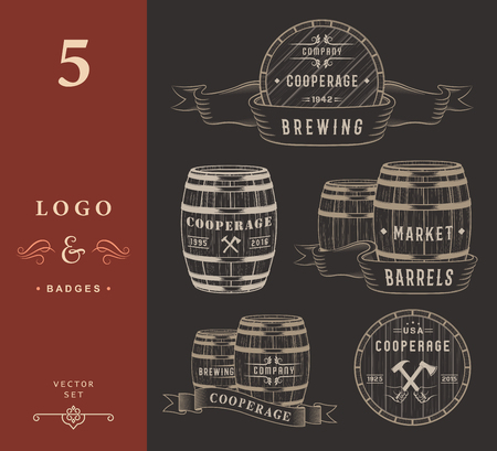 Set of wooden casks with alcohol drinks badges and cooperage logo. Collection of vintage logo template for beer house, bar, pub, brewing company, brewery, tavern, restaurant, winery, whiskey market.