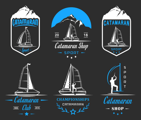hobie: Set of yacht and catamaran logos and badges. Collection sign and emblems pro sailing, catamaran club and shop - Stock Vector Illustration