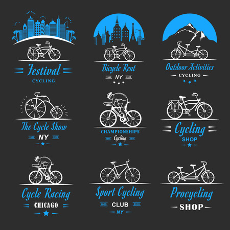 Set of vintage, modern and retro logo badges and labels bicycle, pro bike, shop, equipment and club. Cycling typographic sign, icons and old emblems - Stock Vector