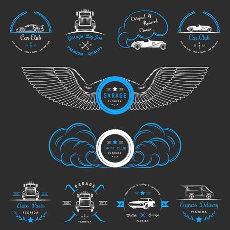 クラシックカー クラブ、ドリフト クラブ、自動車部品とガレージ ラベル、バッジなどのデザイン要素のセットです。バッジ トラック、ビンテージ