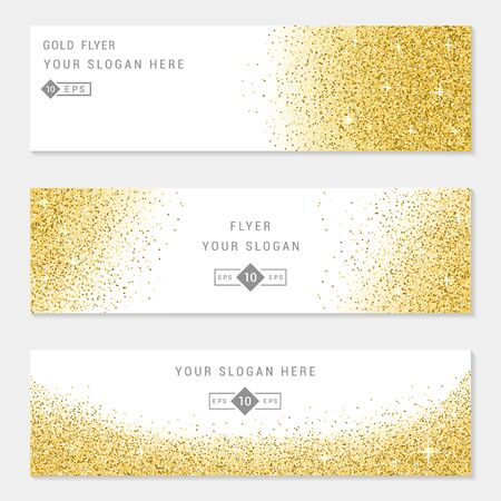 privilege: Vector banners and cards gold sparkles on white background. Gold background text. Banners voucher, store, present, shopping, sale, logo, web, card, vip, exclusive, certificate, gift, luxury, privilege. Illustration