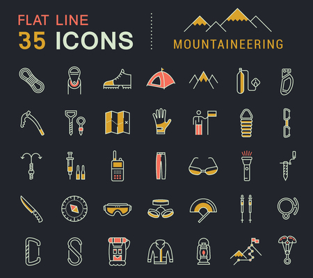 Set vector line icons in flat design mountaineering and hiking with elements for mobile concepts and web apps. Collection modern infographic logo and pictogram.