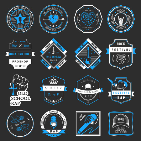 rapero: Conjunto de insignias de vectores y logos de la música rock y el rap de la música clásica, la música electrónica y la música disco. La colección de símbolos y emblemas para la impresión de camisetas, festivales y fiestas. Vectores