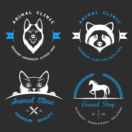 shop for animals: Set of vintage logo and logotype elements for pet shop, pet house, pet and exotic animals clinic. Illustration