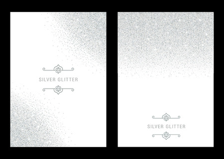 Vector set silver banner on black background. Silver and platinum card for voucher, flyers, web, vip, certificate, gift, shopping, and others premium goods.