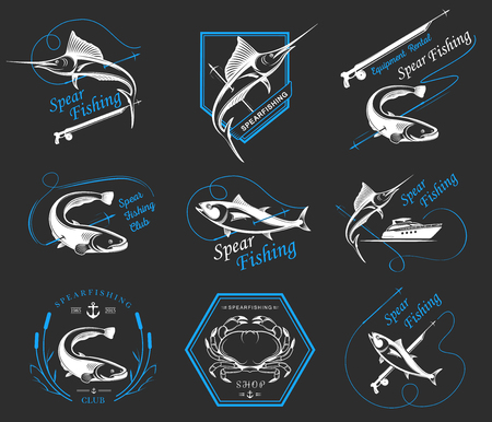 spearfishing: Big set of logos, badges, stickers and prints spearfishing isolated. Premium vector label for spearfishing and underwater swimming - Stock Vector Illustration