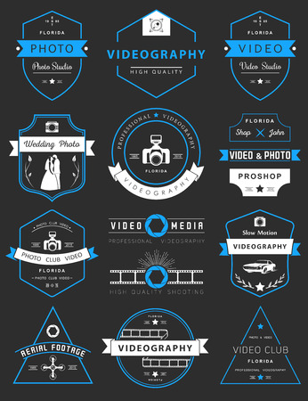 Vector collection of photography and videography logo templates. Photocam, wedding and aerial footage logotypes. Photography vintage badges and icons. Modern mass media icons. Photo labels. Illusztráció