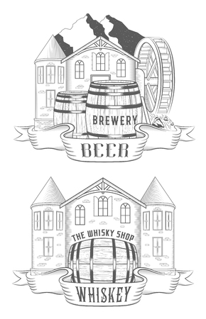 watermill: Vector set illustration, logo and badges for alcohol bar, tavern and department whiskey or beer and wine in shop. Collection emblems in form barrels and castles Illustration