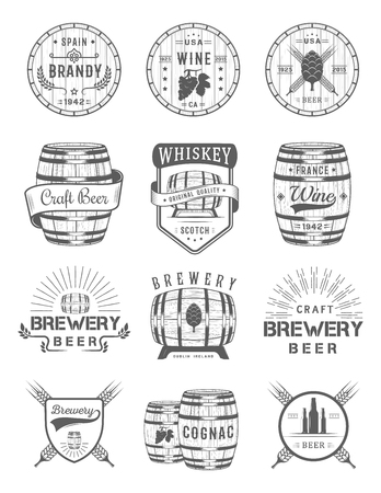 Brewery: Set of wooden casks with alcohol drinks emblems and labels. Set of vintage logo, badge, template with wooden barrels for beer house, bar, pub, wine and whiskey market, brewery, restaurant and winery.