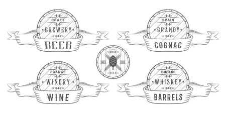 Set of wooden casks with alcohol drinks emblems and labels. Set of vintage logo, badge, template with wooden barrels for beer house, bar, pub, wine and whiskey market, brewery, restaurant and winery.