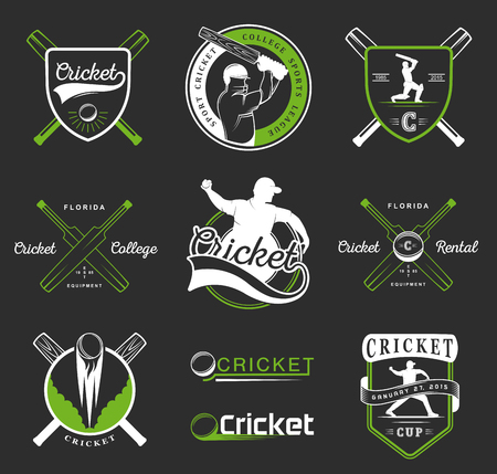 cricket: Set of cricket team emblem design elements. Vector sign and logo sport game - Cricket