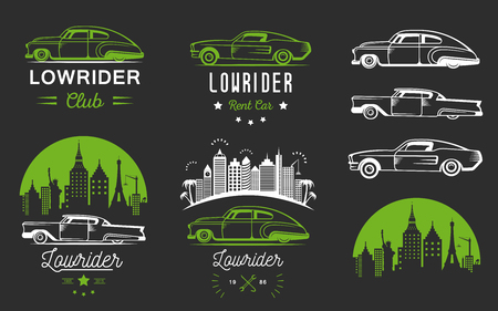 sticers: Set vintage lowrider logo, badge, sign, emblems, sticers and elements design. Collection classic and retro old car icon - Stock Vector Illustration