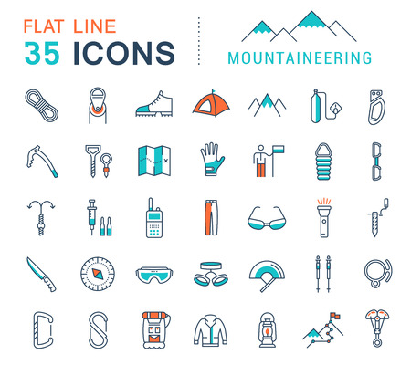 climbing mountain: Set vector line icons in flat design mountaineering and hiking with elements for mobile concepts and web apps. Collection modern infographic logo and pictogram.