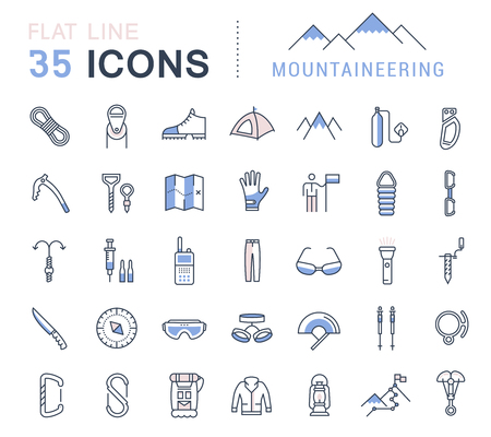 alpinism: Set vector line icons in flat design mountaineering and hiking with elements for mobile concepts and web apps. Collection modern infographic logo and pictogram.