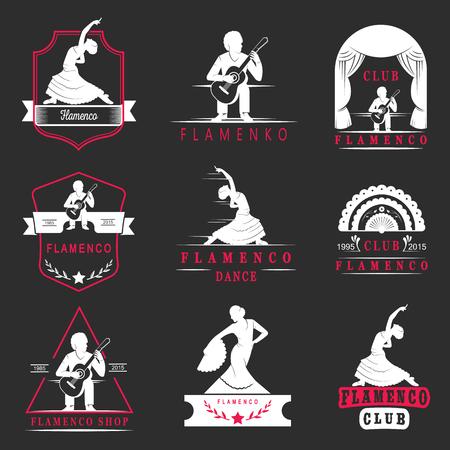 Jeu de logos vectoriels, des badges et des silhouettes de flamenco. emblèmes de la collection de la danse traditionnelle espagnole, signes école, les clubs, les boutiques et les ateliers de flamenco.