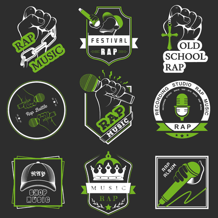 rap music: Set of vector logos, badges and stickers Hip Hop and Rap music. Collection of emblems rap battle, rap club and rap festival. Rap logos in style of Digital Art