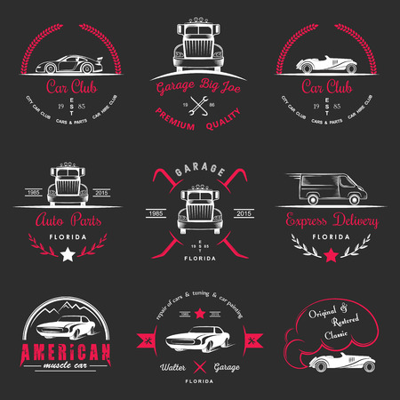 Set of vintage car club, drift club, auto parts and garage labels, badges and design elements. Badges trucks, vintage cars and sports cars. Illustration