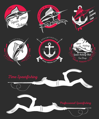 spearfishing: Big set of logos, badges, stickers and prints spearfishing isolated on black background. Premium vector label for spearfishing and underwater swimming - Stock Vector