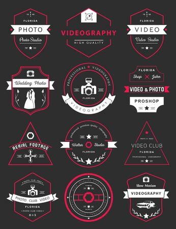 logotypes: Vector collection of photography and videography logo templates. Photocam, wedding and aerial footage logotypes. Photography vintage badges and icons. Modern mass media icons. Photo labels. Illustration