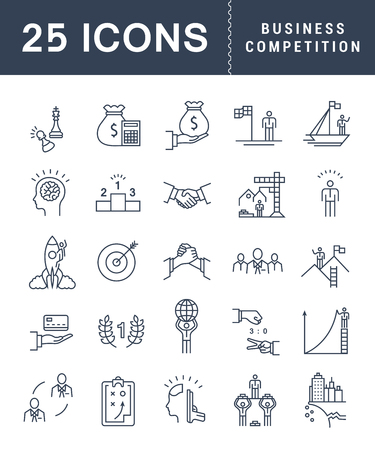 Set vector line icons with open path business competition, leadership development, people management with elements for mobile concepts and web apps.