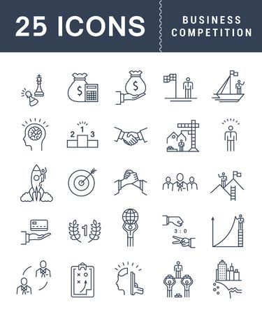 Set Vektor Zeile Symbole mit offenen Pfad Business-Wettbewerb, Führung Entwicklung, Menschen-Management mit Elementen für mobile Konzepte und Web-Anwendungen.