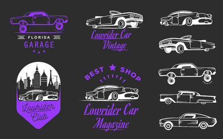 hotrod: Collection classic and retro old car icon Illustration