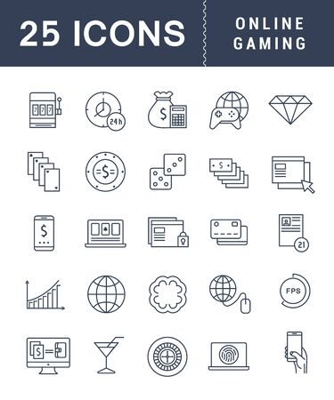 roulette online: Collection modern infographic logo and pictogram