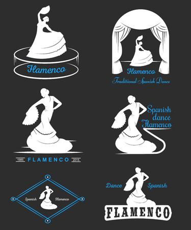 flamenco: Set of vector logos, badges and silhouettes Flamenco.