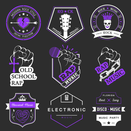 rap music: Set of vector badges and logos of music Illustration