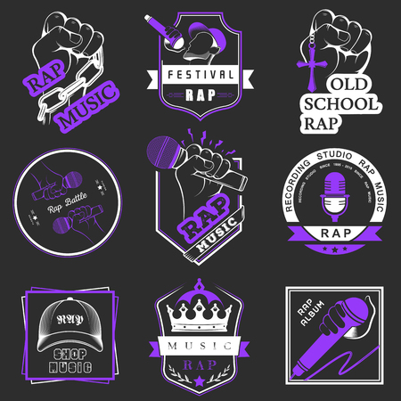rap music: Set of vector logos, badges and stickers Hip Hop and Rap music