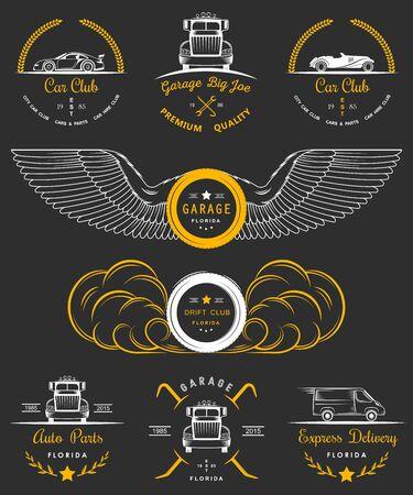drift: Set of vintage car club, drift club, auto parts and garage labels