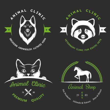 huskies: Set of vintage logo and logotype elements for pet shop.