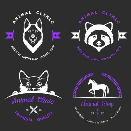 huskies: Set of vintage logo and logotype elements for pet shop