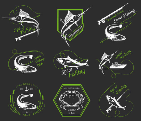 spearfishing: Big set of logos, badges, stickers and prints spearfishing isolated. Illustration