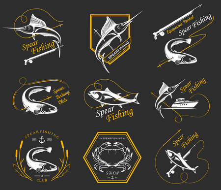 spearfishing: Premium vector label for spearfishing and underwater swimming