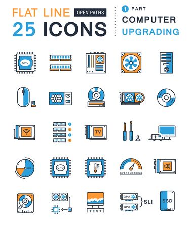 Set vector line icons with open path upgrading computer and hardware, overclocking, cooling, test cpu and gpu with elements for mobile concepts and web apps. Collection modern infographic logo Illustration