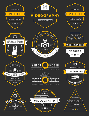 Vector collection of photography and videography logo templates. Vettoriali