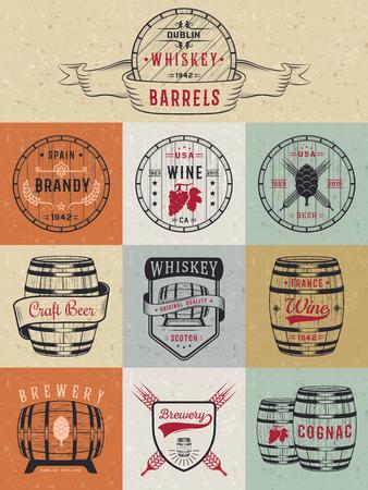 casks: Set of wooden casks with alcohol drinks emblems and labels.