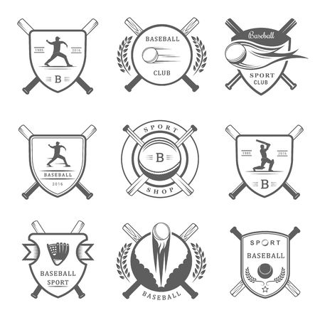 sports club: Set of vintage baseball labels, logo, sign, badges, icons and outfit. Collection of baseball club emblem and design elements. Baseball tournament professional logo and sports graphic. Illustration