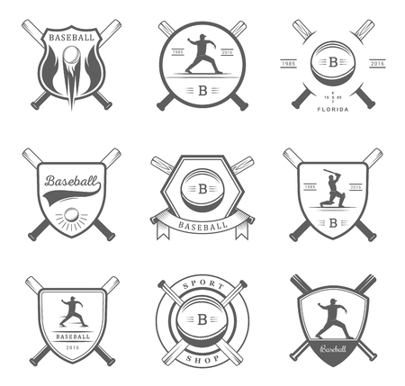 inning: Set of vintage baseball labels, , sign, badges, icons and outfit. Collection of baseball club emblem and design elements. Baseball tournament professional  and sports graphic.